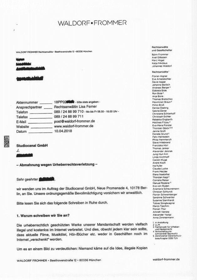 Waldorf Frommer Abmahnung Fake