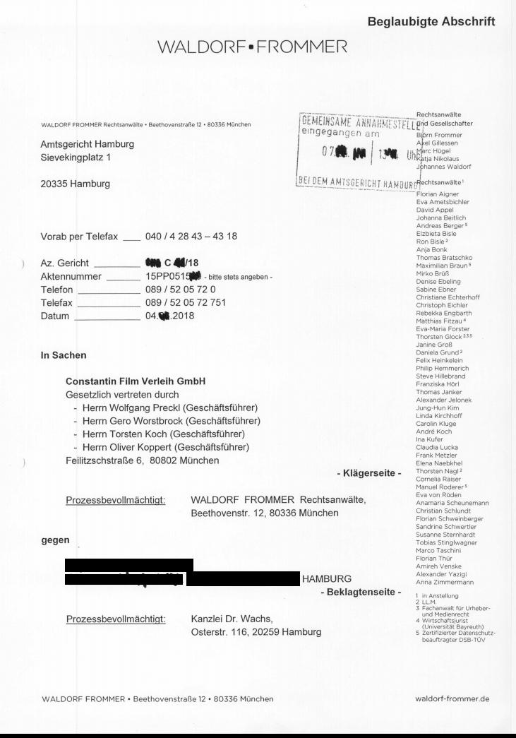 Waldorf Frommer Klage Erhalten Dr Wachs Rechtsanwälte